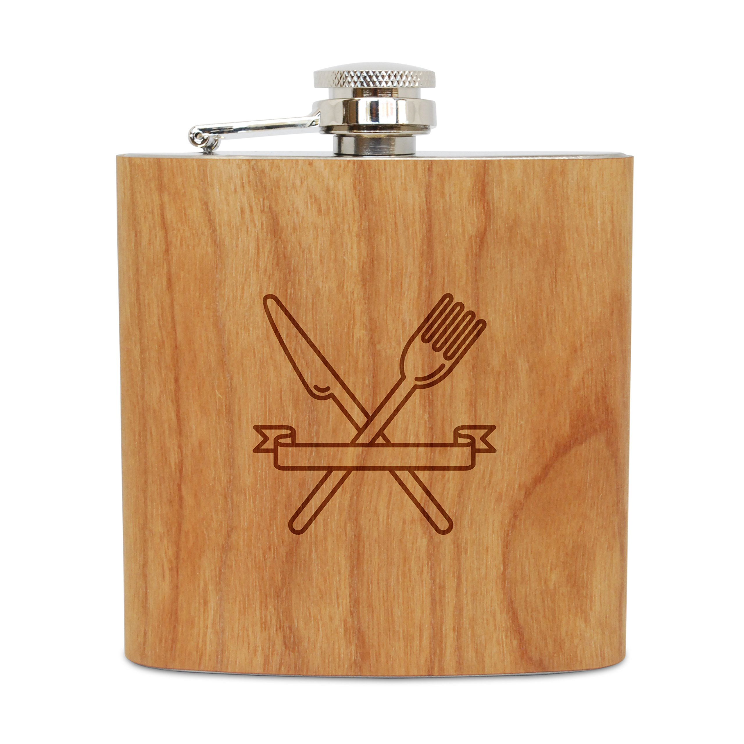 WOODEN ACCESSORIES COMPANY Cherry Wood Flask With Stainless Steel Body - Laser Engraved Flask With Restaurant Logo Design - 6 Oz Wood Hip Flask Handmade In USA