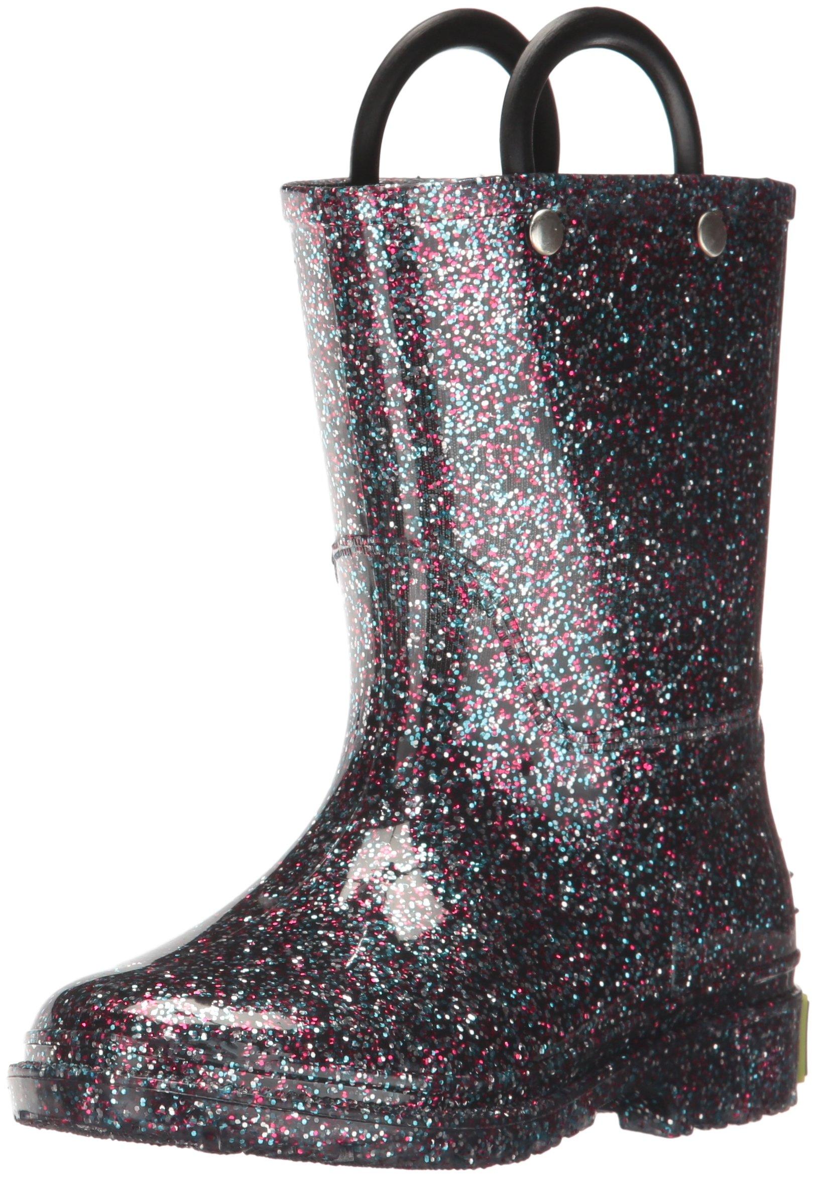 Western Chief Girls Glitter Rain Boot, Multi, 1 M US Little Kid