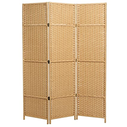 Amazoncom MyGift Folding Woven Paper Rattan Room Divider 3 Panel