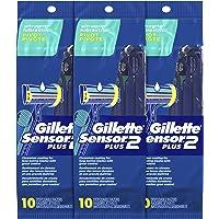 Gillette Sensor2 Plus Men's Disposable Razor, Pivot, 10 count (Pack of 3), Mens Disposable Razor/Blades