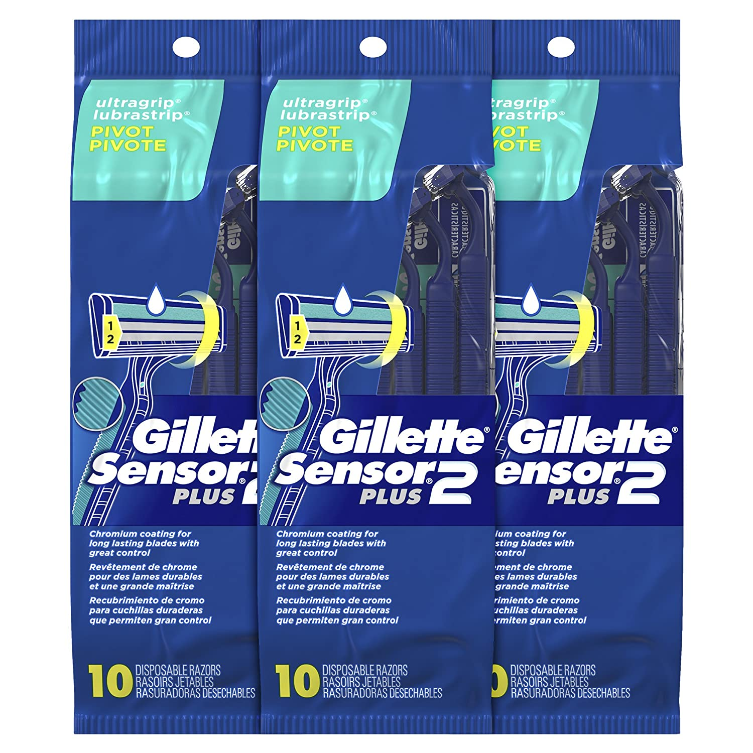 Gillette Sensor2 Plus Pivoting Head Men's Disposable Razors, 10 Count Custom Plus