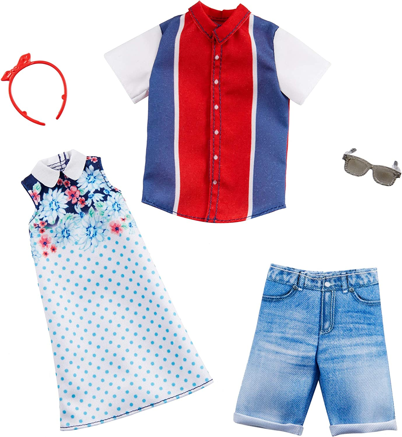 Barbie Clothes Complete Outfit Ken Red White Blue Striped Shirt Denim Shorts