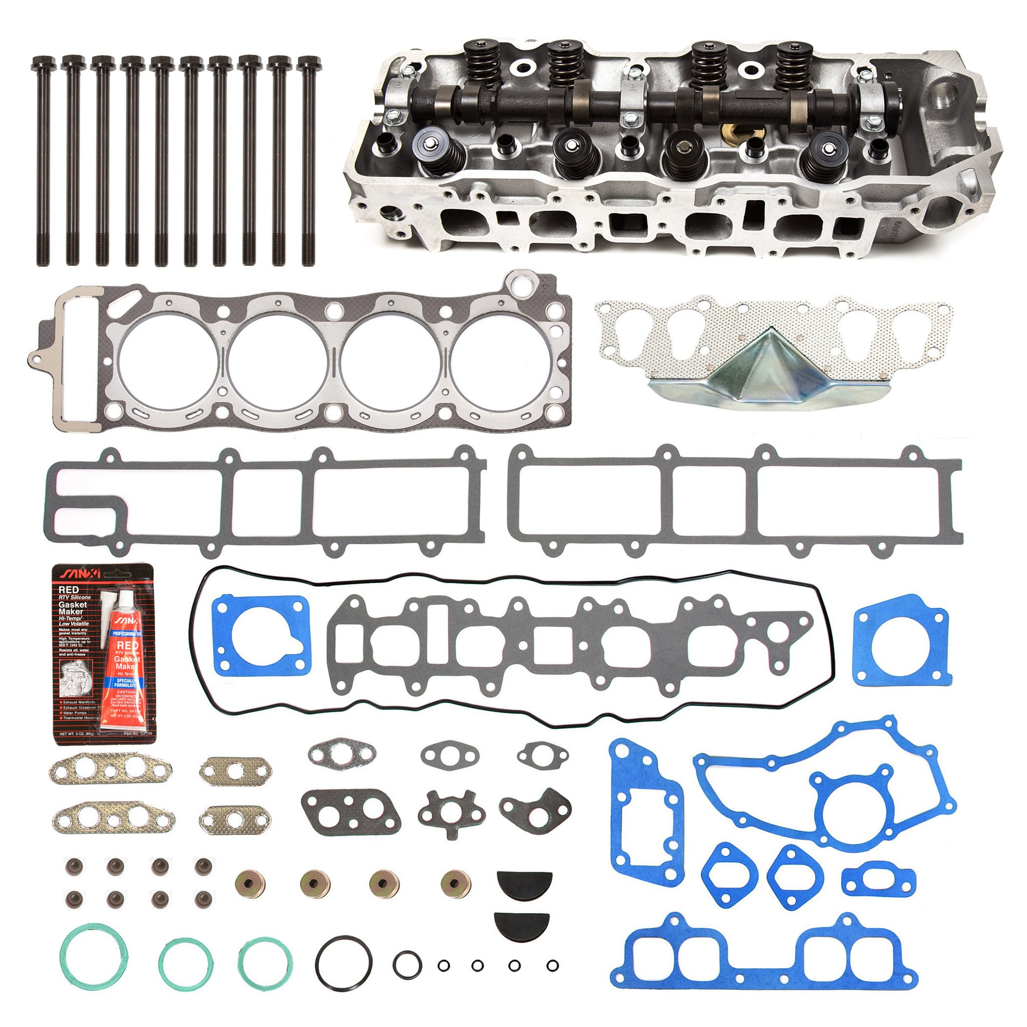 Evergreen CHHSHB2000 85-95 Toyota 2.4 SOHC 22R 22RE 22REC Cylinder Head w/ Gasket Set Head Bolts