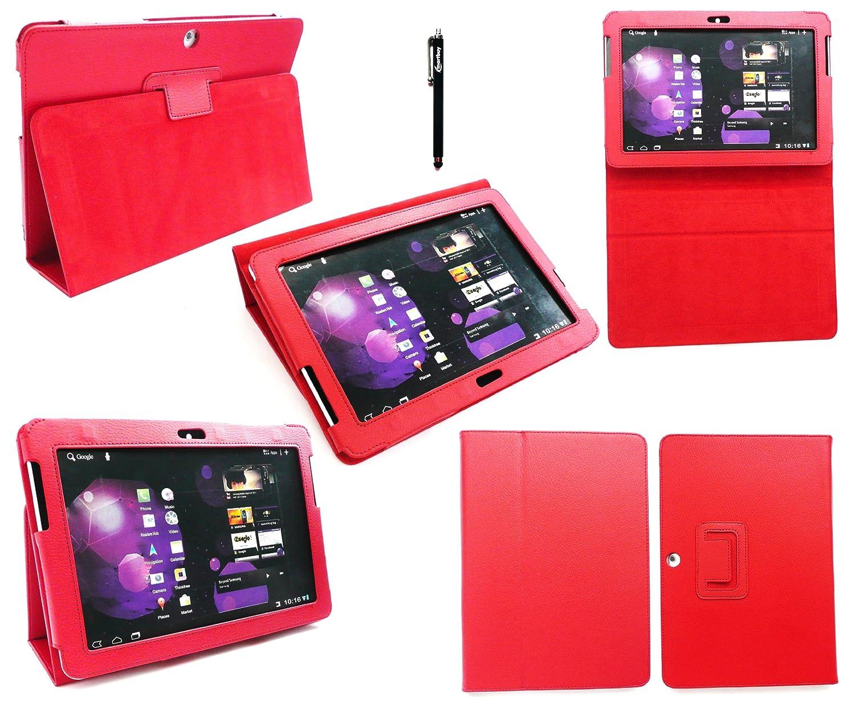 Emartbuy ® Samsung Galaxy Tab 10.1 Tablet 2 Pulgadas (P5100 / P5110) Negro Stylus + Rojo Cuero De La Pu Multifuncional/Multi Angle Monedero/Portada / Soporte/Caso Mecanografía Emartbuy® MA04836