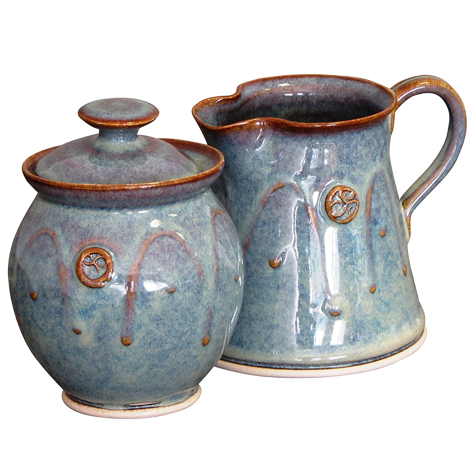 Amazon.com | Handmade Irish Pottery Sugar and Creamer Set: Cream ...