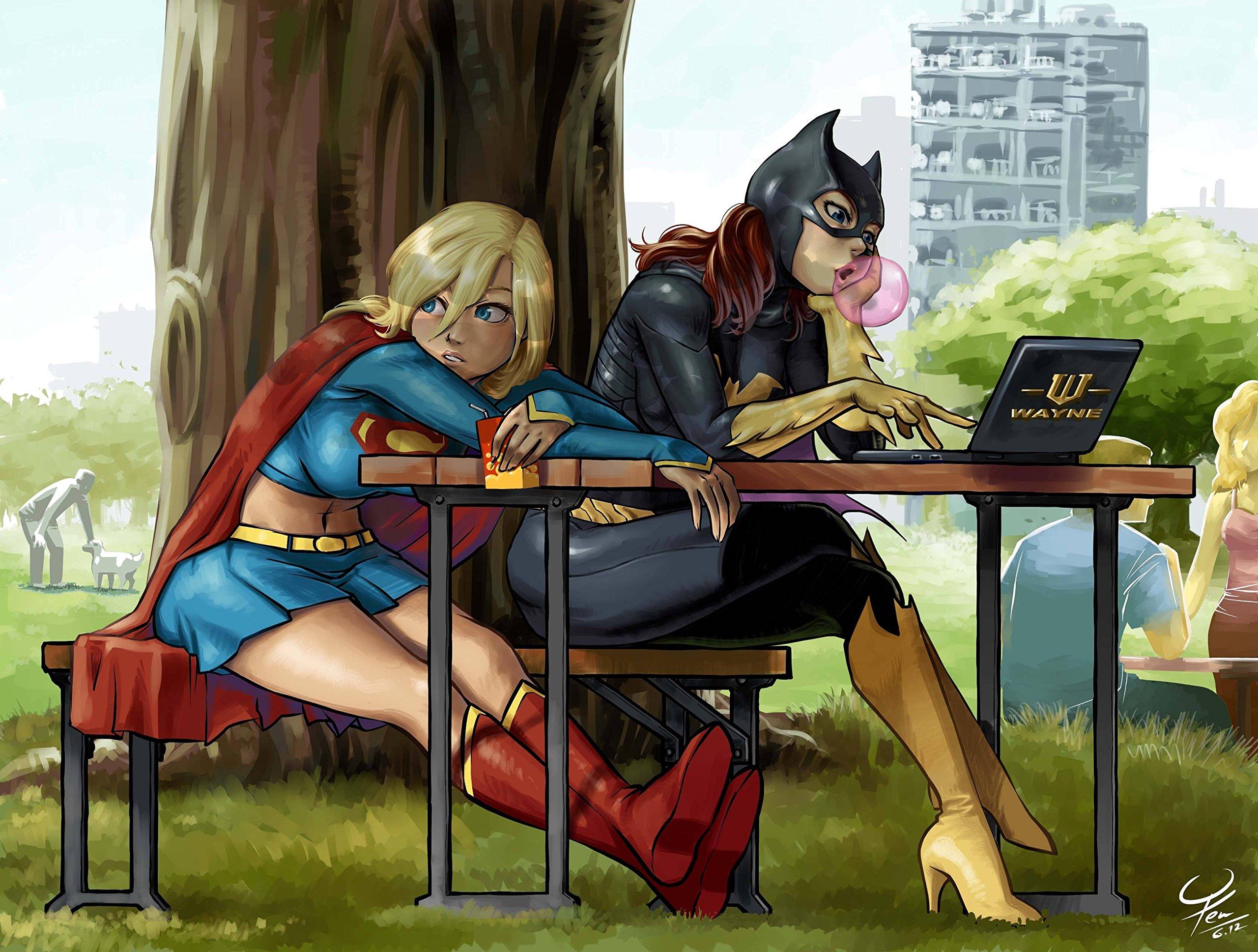 Batgirl and Superwoman Bored Playmat