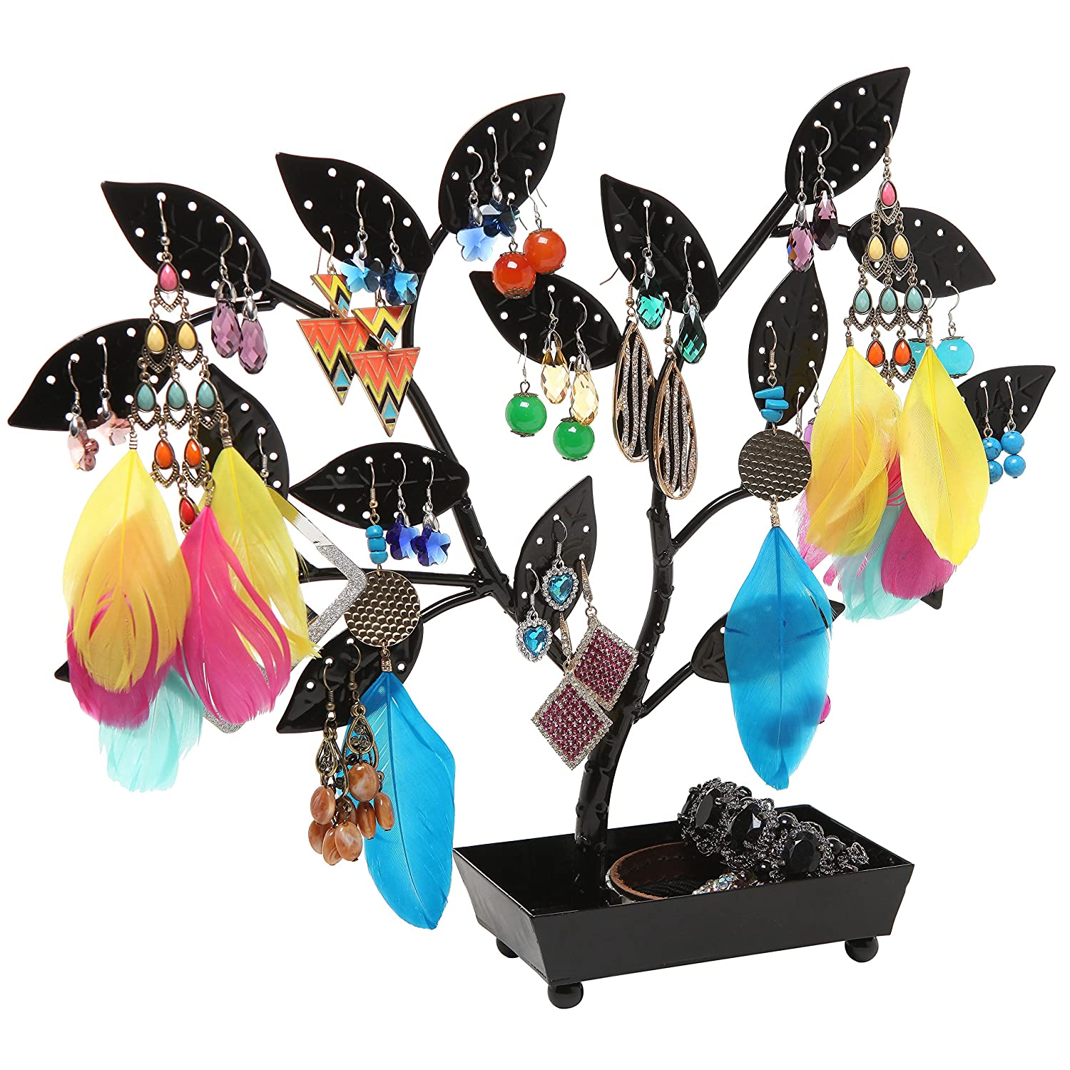 Amazoncom MyGift Jewelry Tree Earring Necklace Hanger Holder with