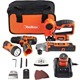 VonHaus 4-Piece 12V Cordless Power Tools Combi Kit Set: 2-Speed Drill / Driver, Multi Purpose Saw, Multi Oscillating Tool and Flashlight Torch with Carry Case and 1 Hour Charger