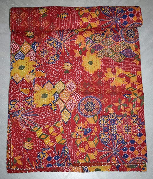 purple kantha quilt in twin size indian handmade kantha blanket fair trade kantha bedspread coverlet