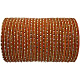 BangleEmporium Chamak Collection! Indian Bangles Orange Gold Large 2.10