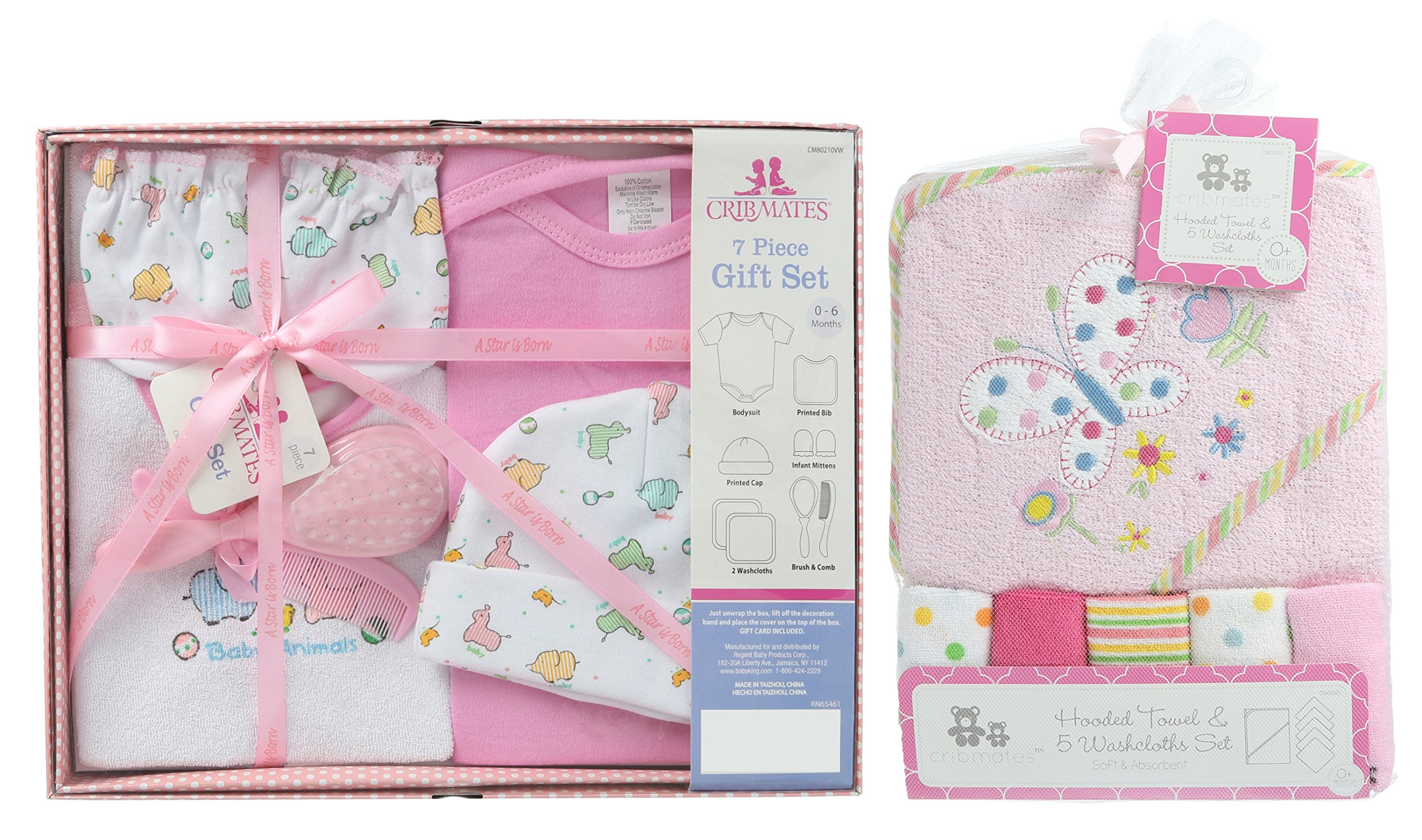 Baby Bath Items Giftset-7 pc and Baby Hoded Towel with Washclothes Bundle, includes Bib,Baby Cap, Baby Mittens, Creeper , Brush and Comb -Pink