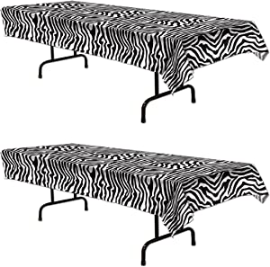 Beistle S57847AZ2 zebra print tablecover, Black/White