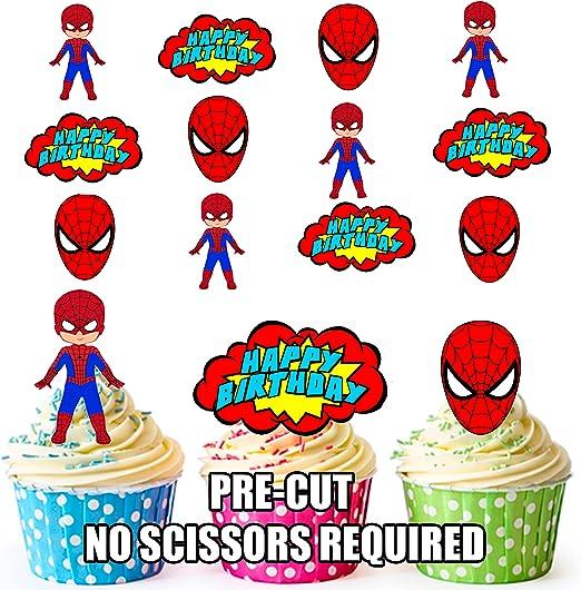 PRE-CUT Spiderman superhéroe feliz cumpleaños Pack – Decoración ...