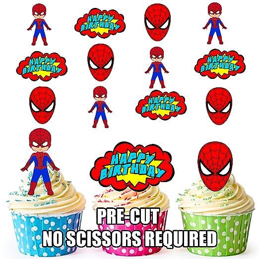 PRE-CUT Spiderman superhéroe feliz cumpleaños Pack ...