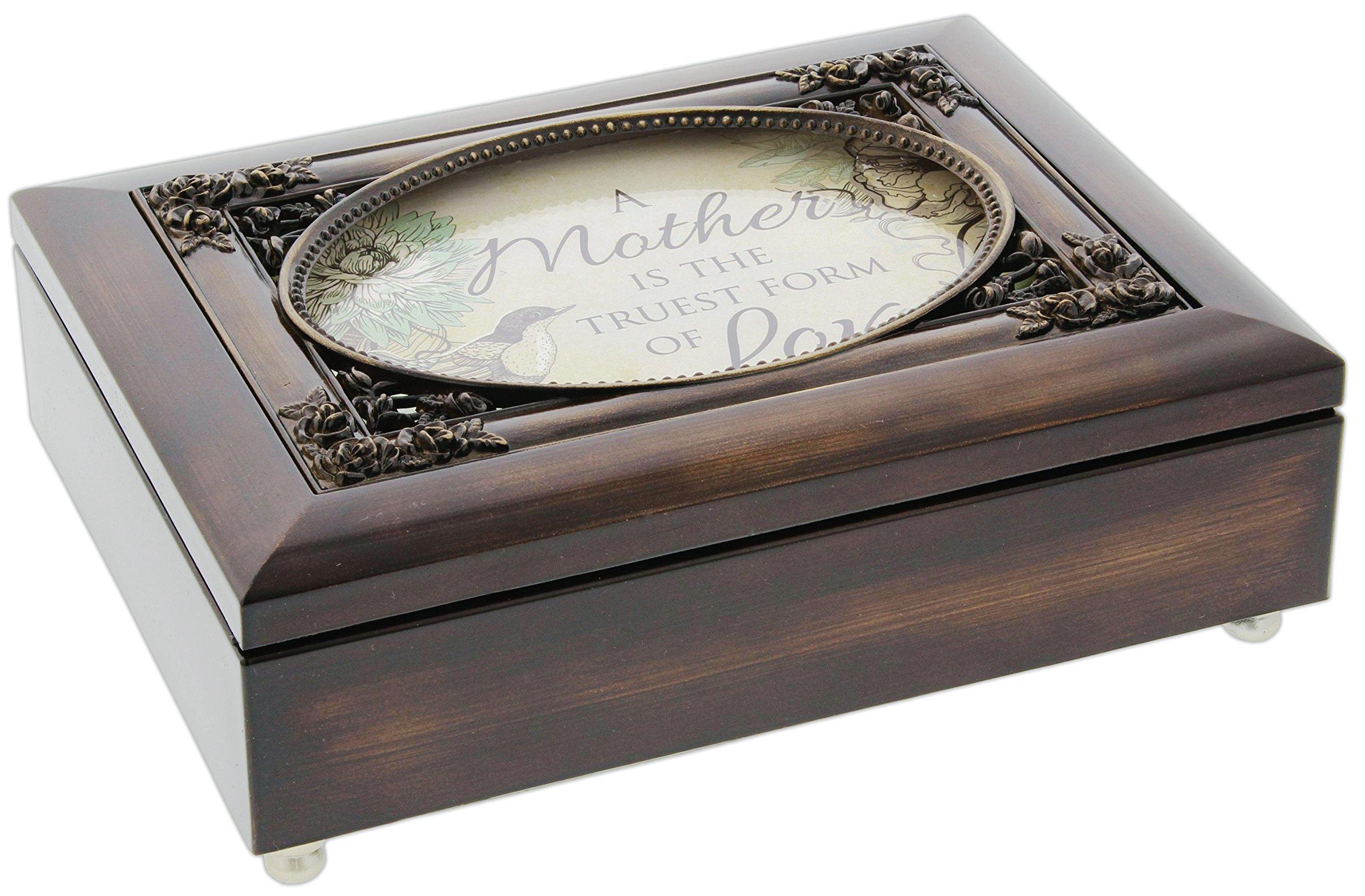 Cottage Garden Dark Woodgrain Music Box with Poem Insert Amazing Grace (Mother Truest Form of Love) by Cottage Garden (Image #1)