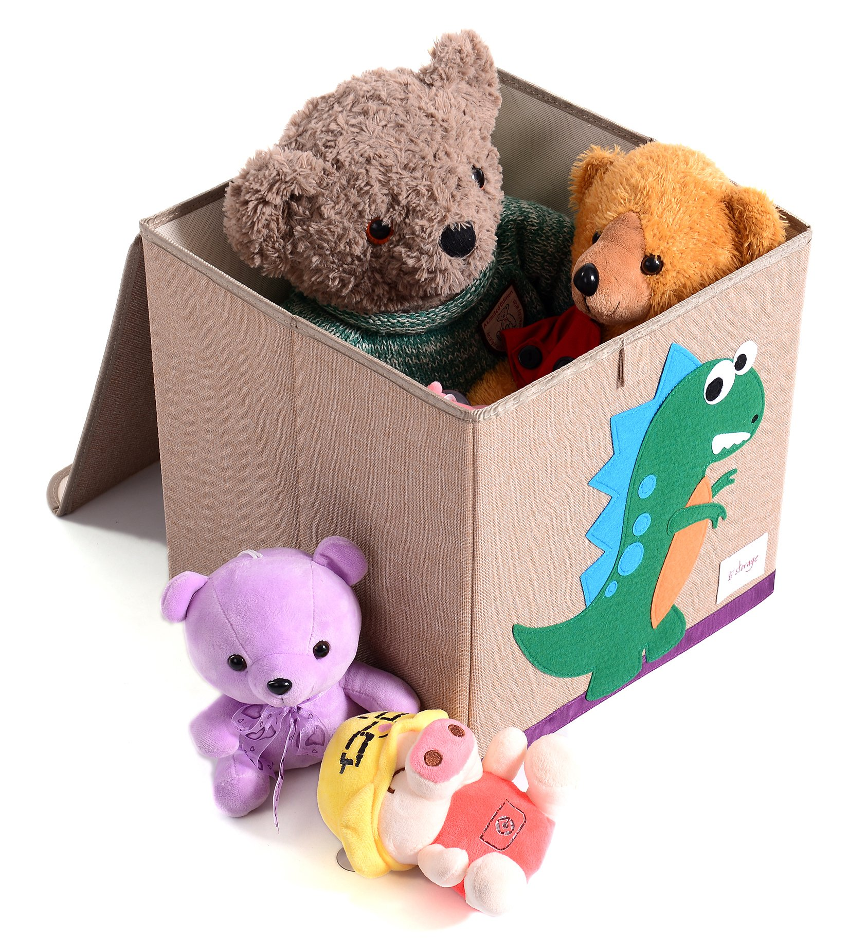 HIYAGON 13''x13''x13''Storage Box/Bin/Cube/Basket/Chest/Organizers with Lids for Bedroom, Nursery, Playroom, Toys, Clothing, Blankets, Books, More(Hedgehog) by HIYAGON (Image #5)