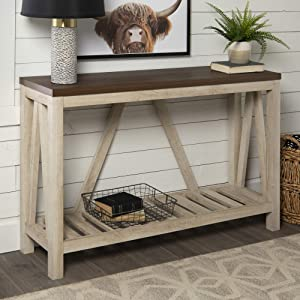 WE FurnitureModern Farmhouse Accent Entryway Table, 52 Inch, Walnut Brown, White