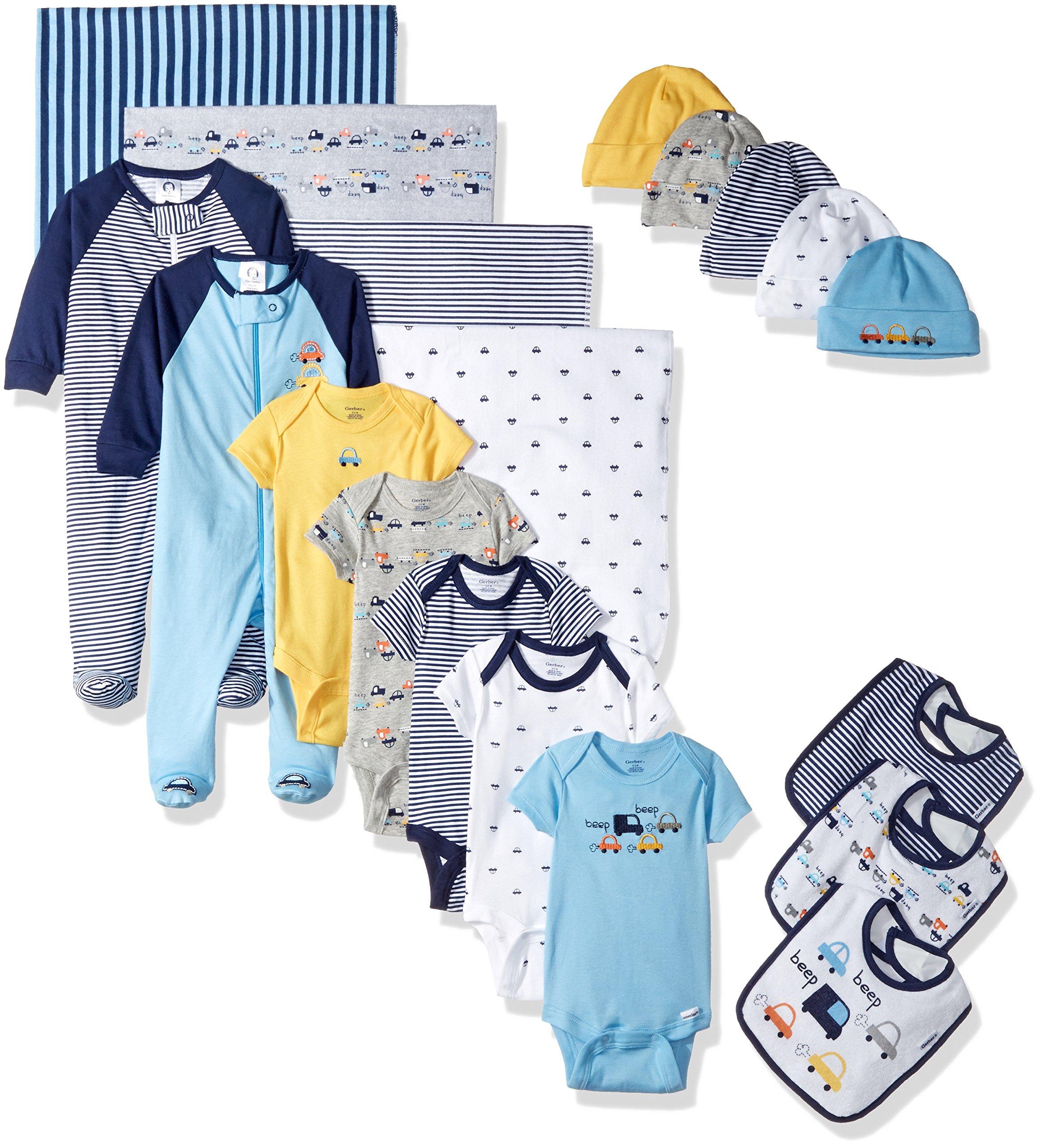 GERBER Baby Boys' 19-Piece Essentials Gift Set, Little Cars, Newborn by GERBER