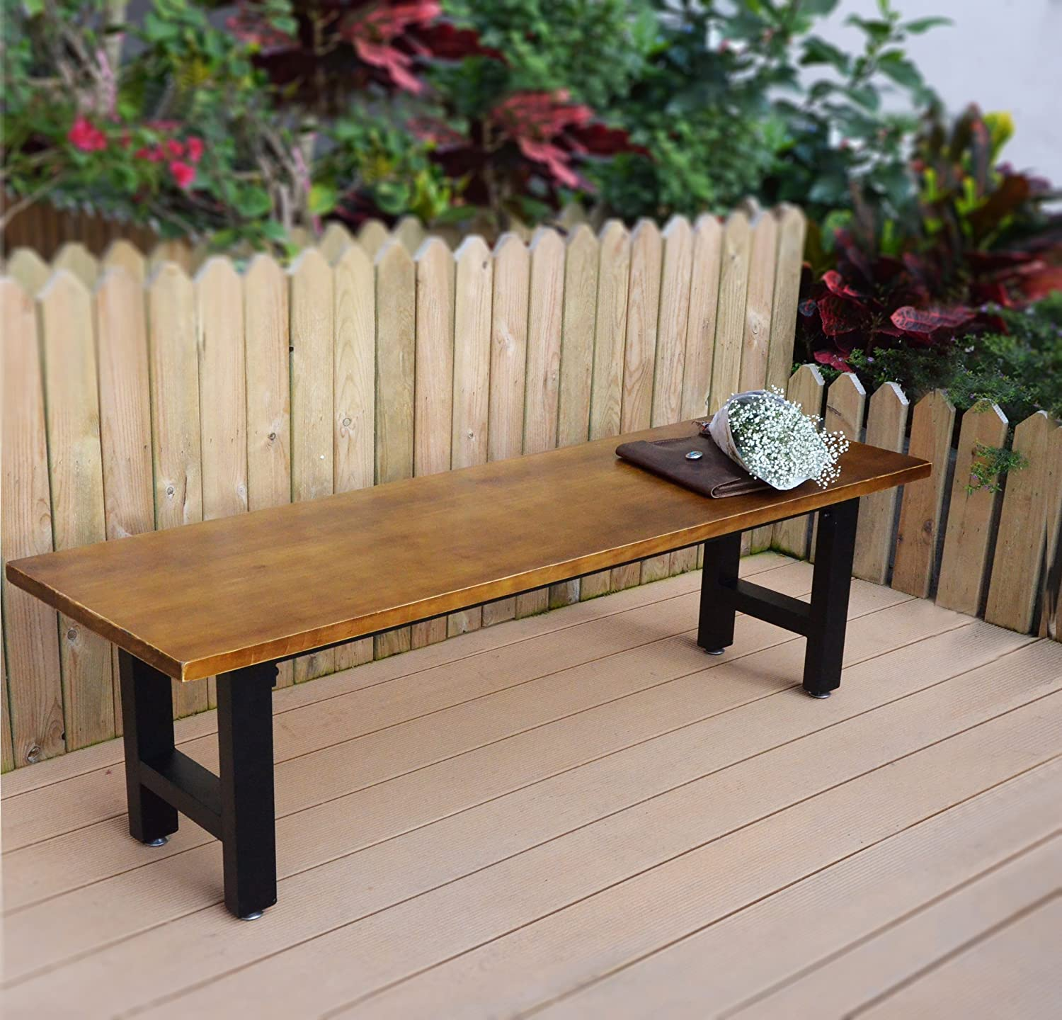 Amazon.com : VILAVITA 6 Feet Outdoor Wooden Platform Bench Pinewood ...