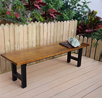 VILAVITA 6 Feet Outdoor Wooden Platform Bench Pinewood Top With Metal Leg Dining  Bench, Patio
