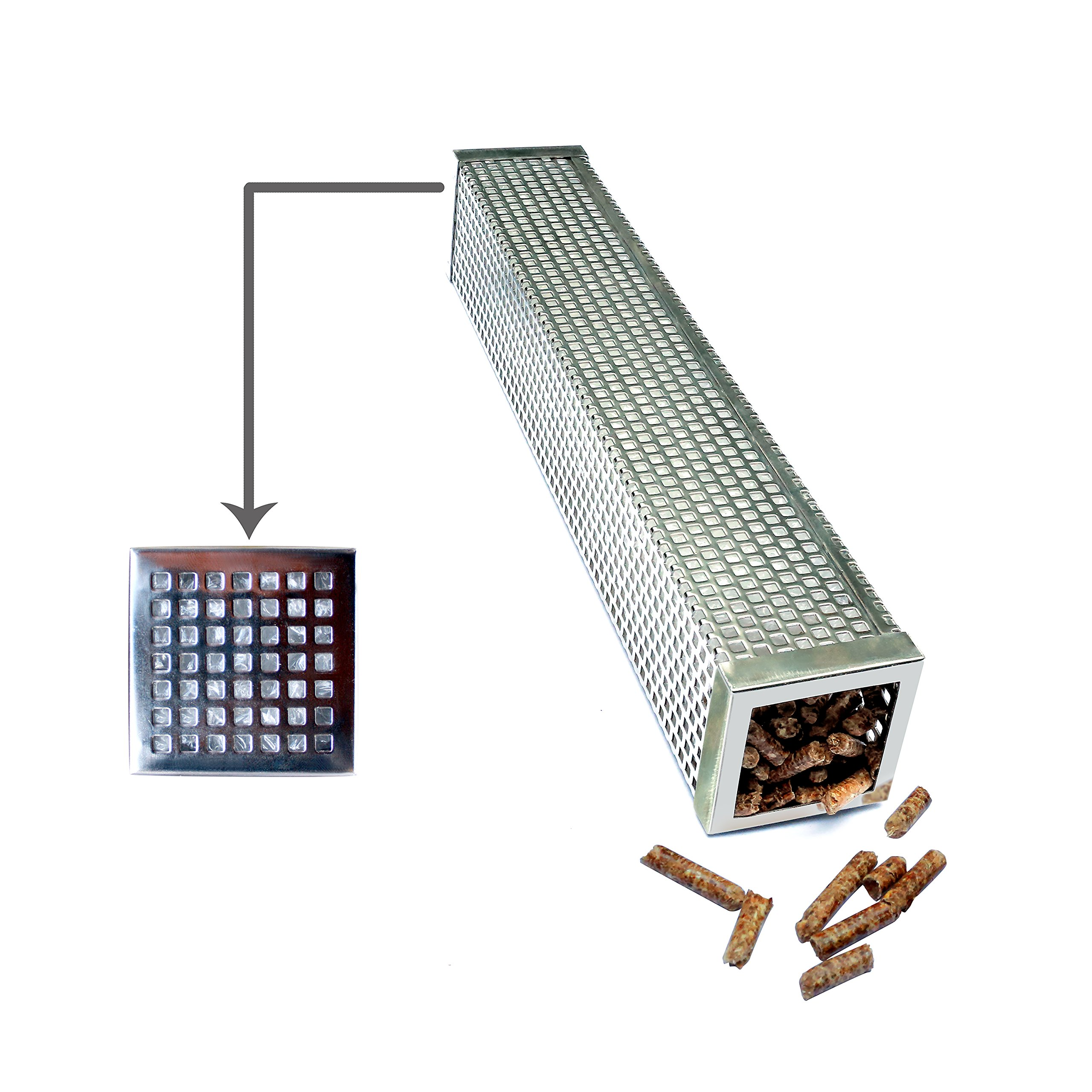 LASENRA BBQ Pellet Smoker Tube Cube 12 Inch Perfect For Hot or Cold Smoking, Additionl Wood Smoke Flavor To Any Electric Gas Charcoal or Pellet Grill, Best Quality And Easy to Carry by LASENRA (Image #3)