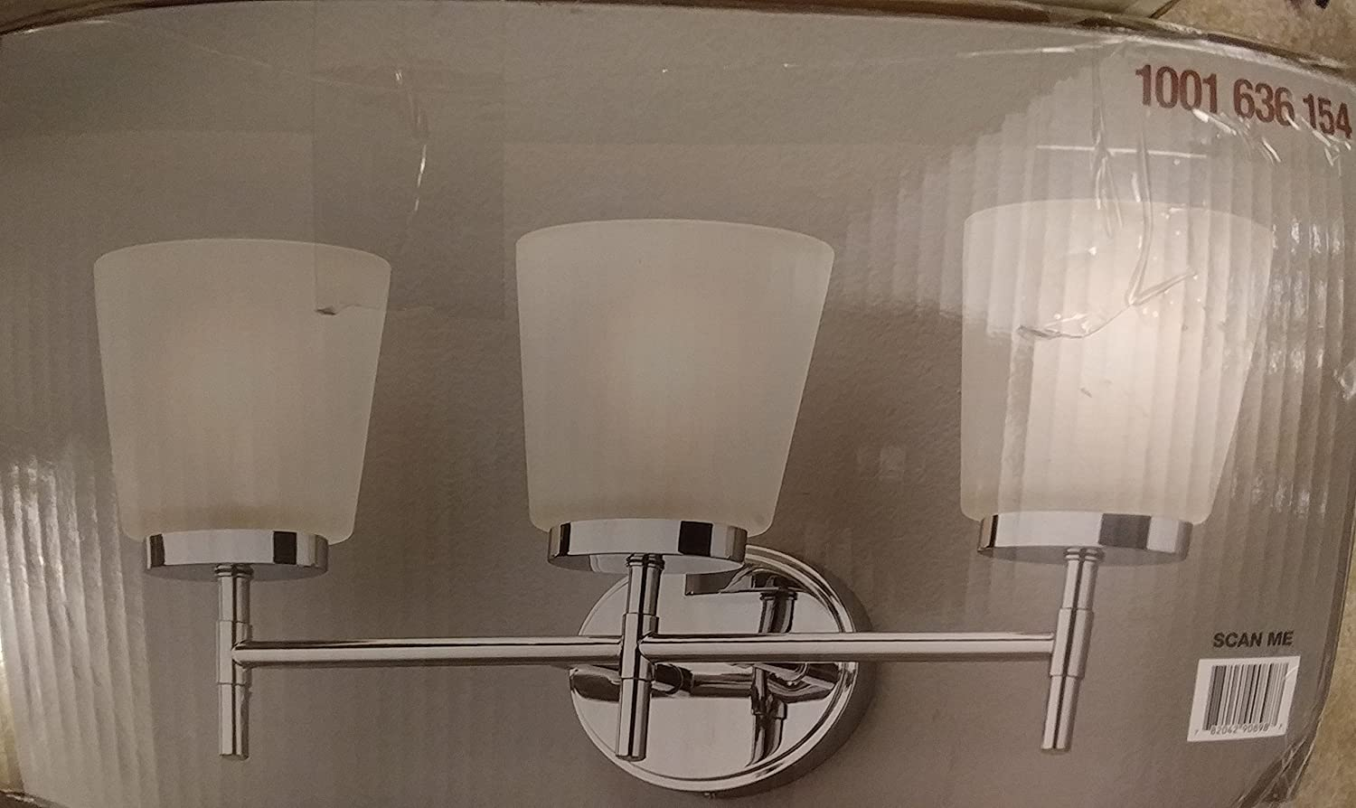 Home Decorators Collection 3-Light Polished Chrome Vanity Light with Frosted Oval Glass Shades