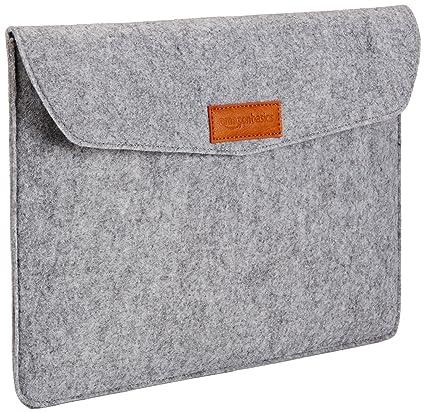 AmazonBasics - Funda de fieltro para portátil de 13 pulgadas, color gris claro