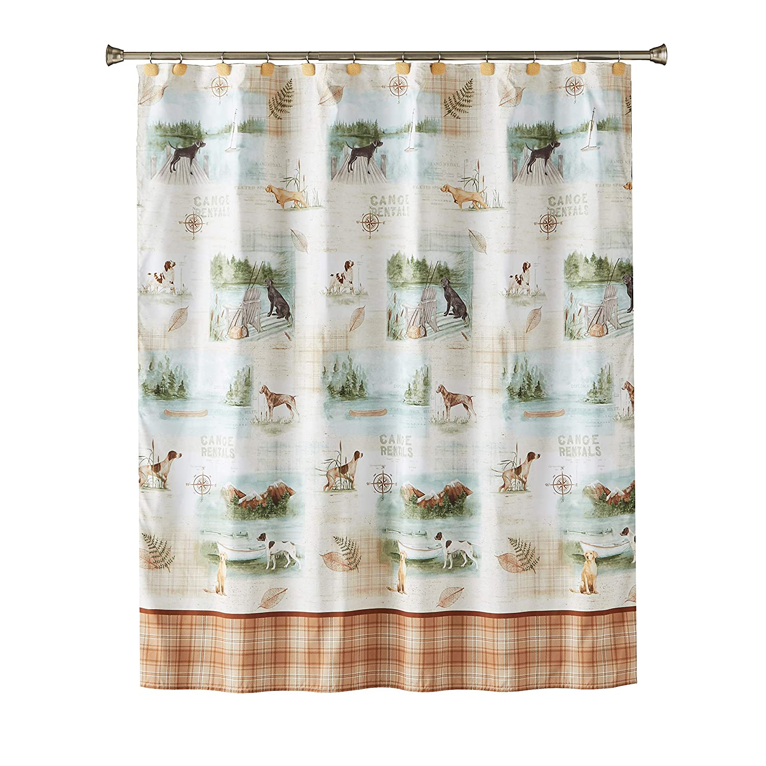 SKL Home by Saturday Knight Ltd. Adirondack Dogs Fabric Shower Curtain, Multicolored