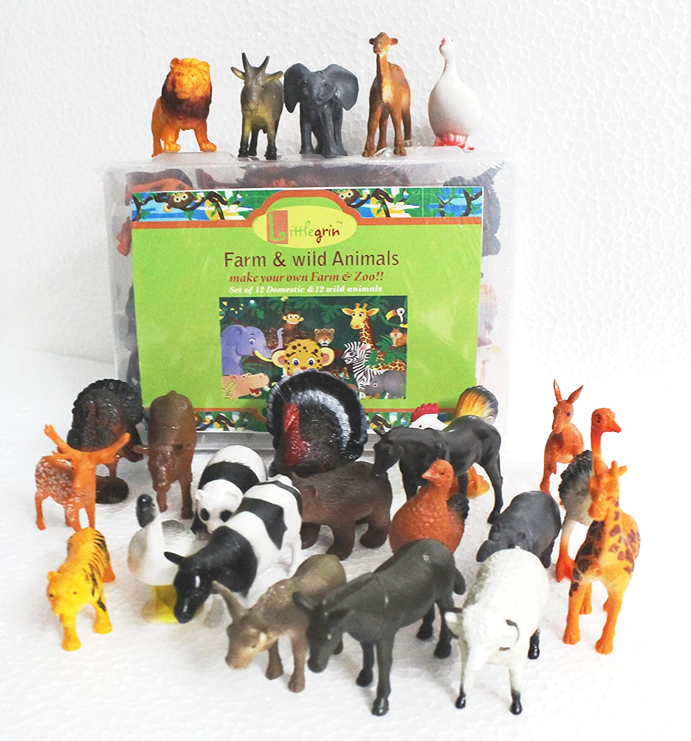 buy little grin 24 pcs wild and farm animal sets for kids online