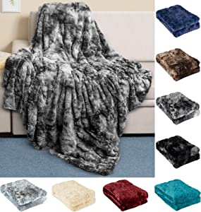 Everlasting Comfort Luxury Faux Fur Throw Blanket - Ultra Soft and Fluffy - Plush Throw Blankets for Couch Bed and Living Room - Fall Winter and Spring - 50x65 (Full Size) Gray