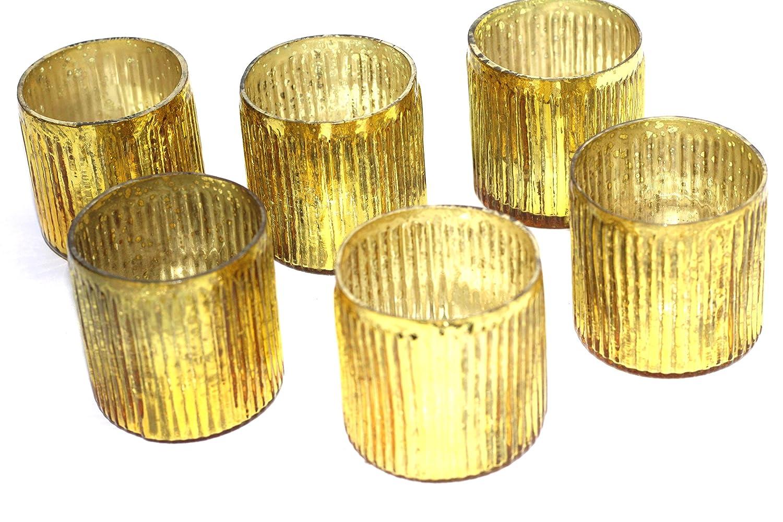 set of 6 gold Mercury glass ribbed votive