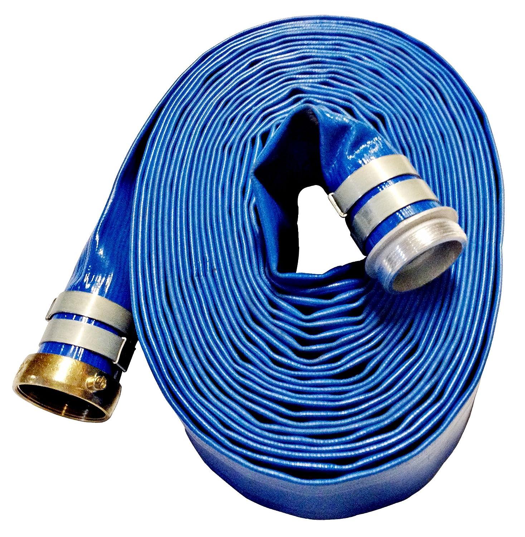 Male x Female Water Shank Couplings 70 psi Working Pressure JGB Enterprises A008-0486-0050 Eagle Flo Blue PVC Discharge Hose -4 Degree F to 150 Degree F 3 x 50