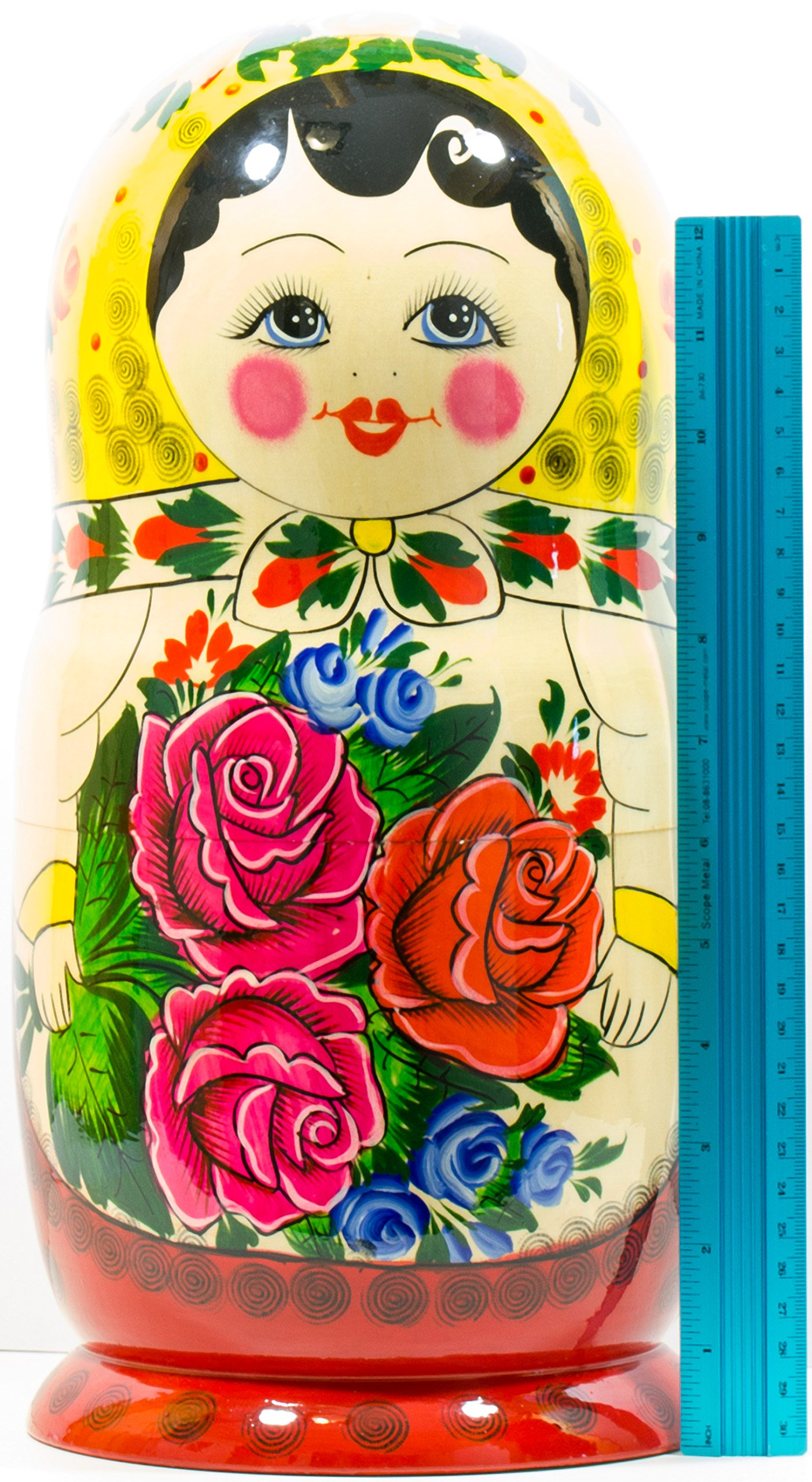 Russian Nesting Doll -Semenovo - Hand Painted in Russia - 6 Color|Size Variations - Wooden Decoration Gift Doll - Traditional Matryoshka Babushka (14``(20 Dolls in 1), Yellow - Red) by craftsfromrussia (Image #7)
