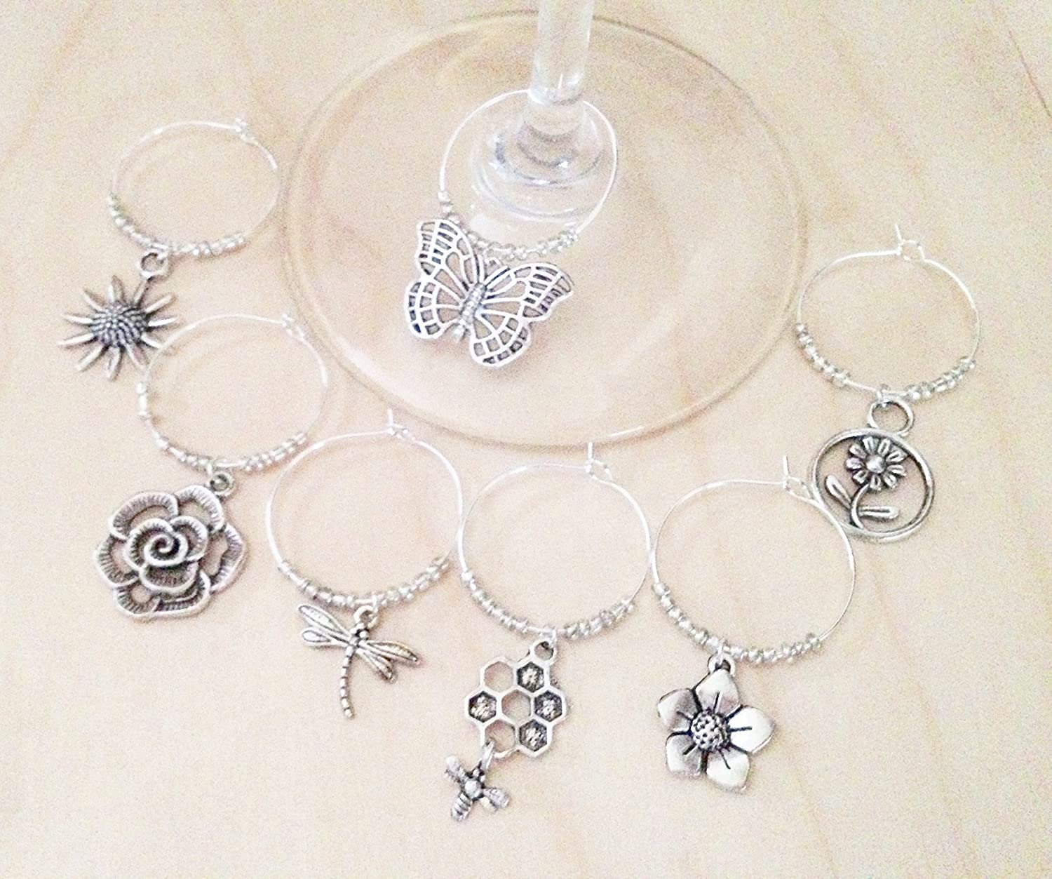 Garden and Flower Wine Charms, Gift for Gardener and Garden Lover