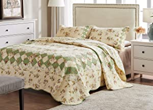 Greenland Home Bliss 100% Cotton Authentic Patchwork Quilt Set, King/Cal King