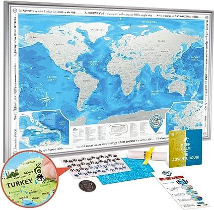 Mapa Mundi Rascar en el Marco Plateado - Mapa del Mundo para Raspar Grande Detallado 88 x