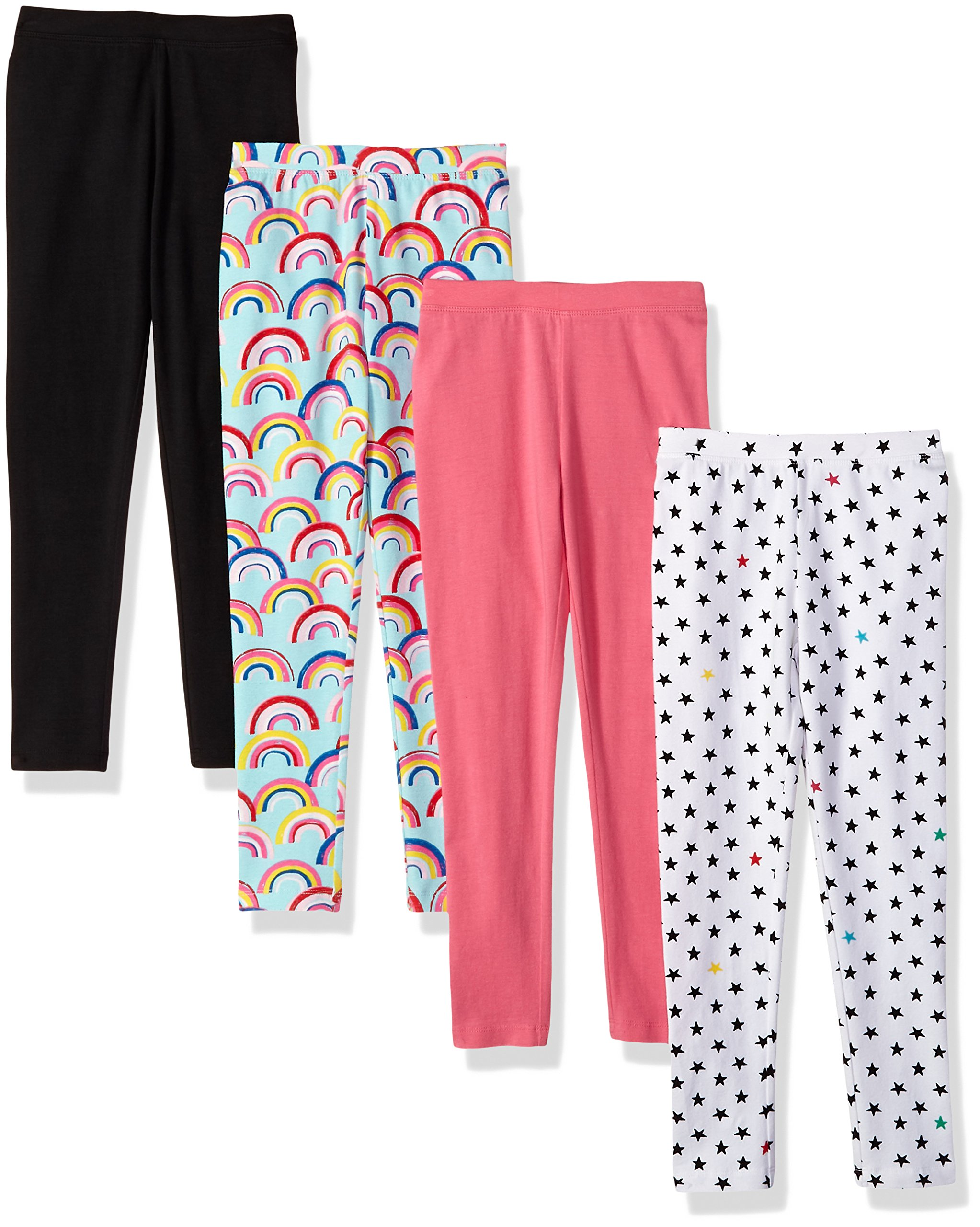 Spotted Zebra Little Girls' 4-Pack Leggings, Rainbows/Stars, Small (6-7)