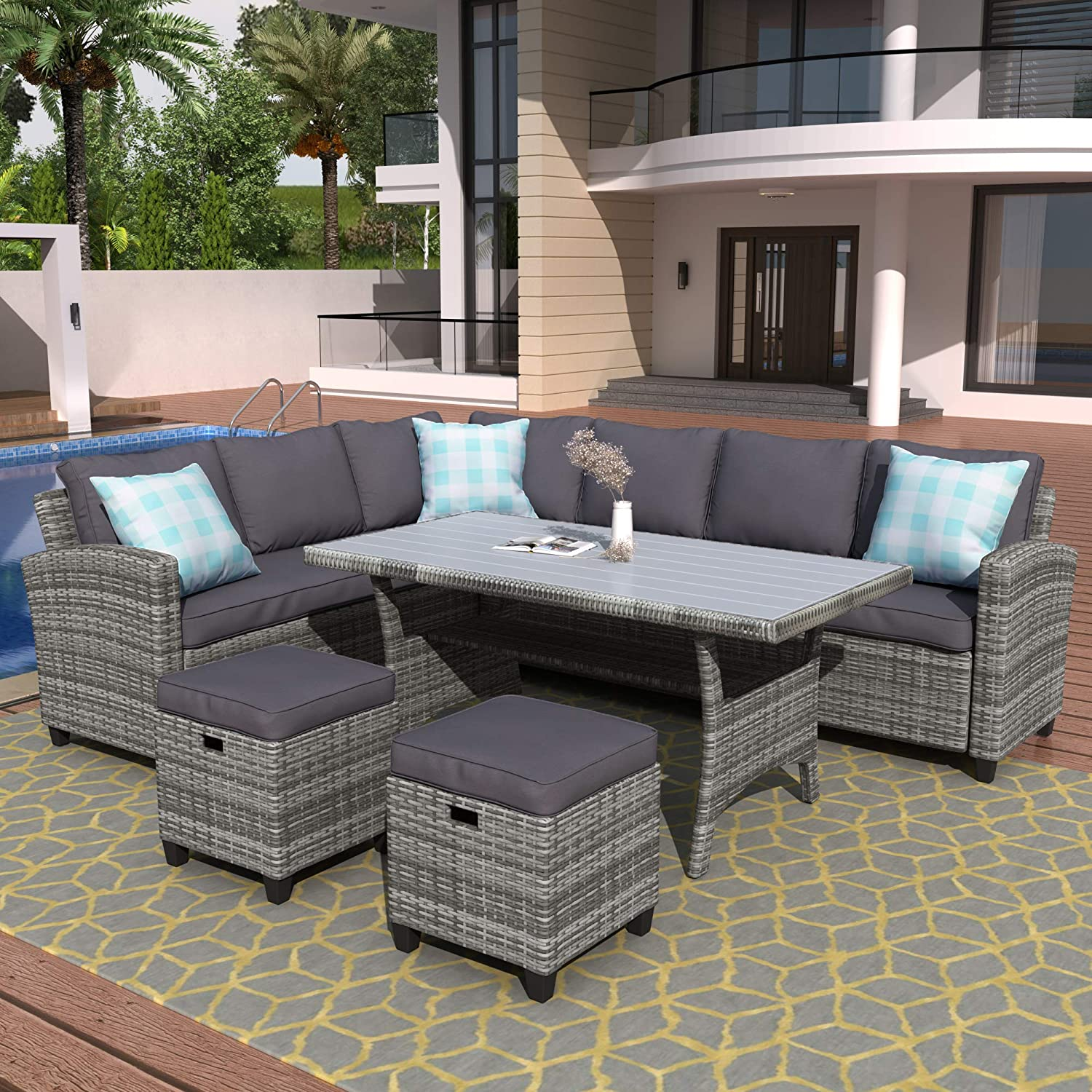 Amazon Com Merax Patio Dining Sets Outdoor Conversation Set All Weather Wicker Rattan Sectional Sofa Dining Table Chairs Set With 2 Ottoman Grey Cushion Garden Outdoor