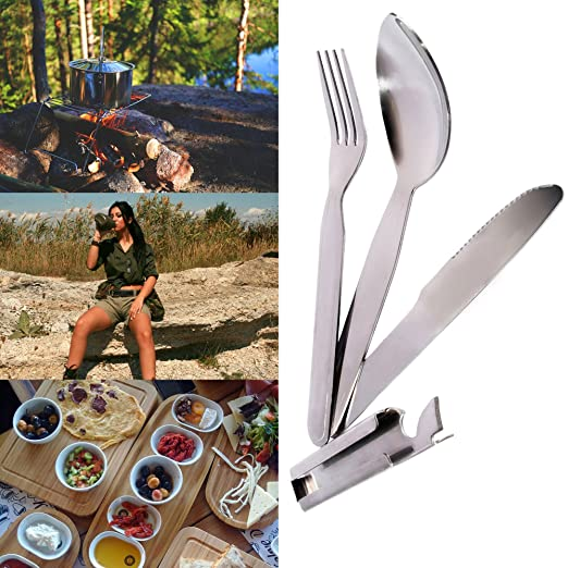 Kadactive Set de cubiertos de camping de acero inoxidable con 5 funciones - Kit vajilla acampada - Cuchillo, cuchara, tenedor, abrelatas y abrebotellas: ...