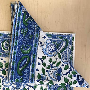 Handmade 100% Cotton Floral Block Print Napkins Table Linen Blue Green 19  x 19