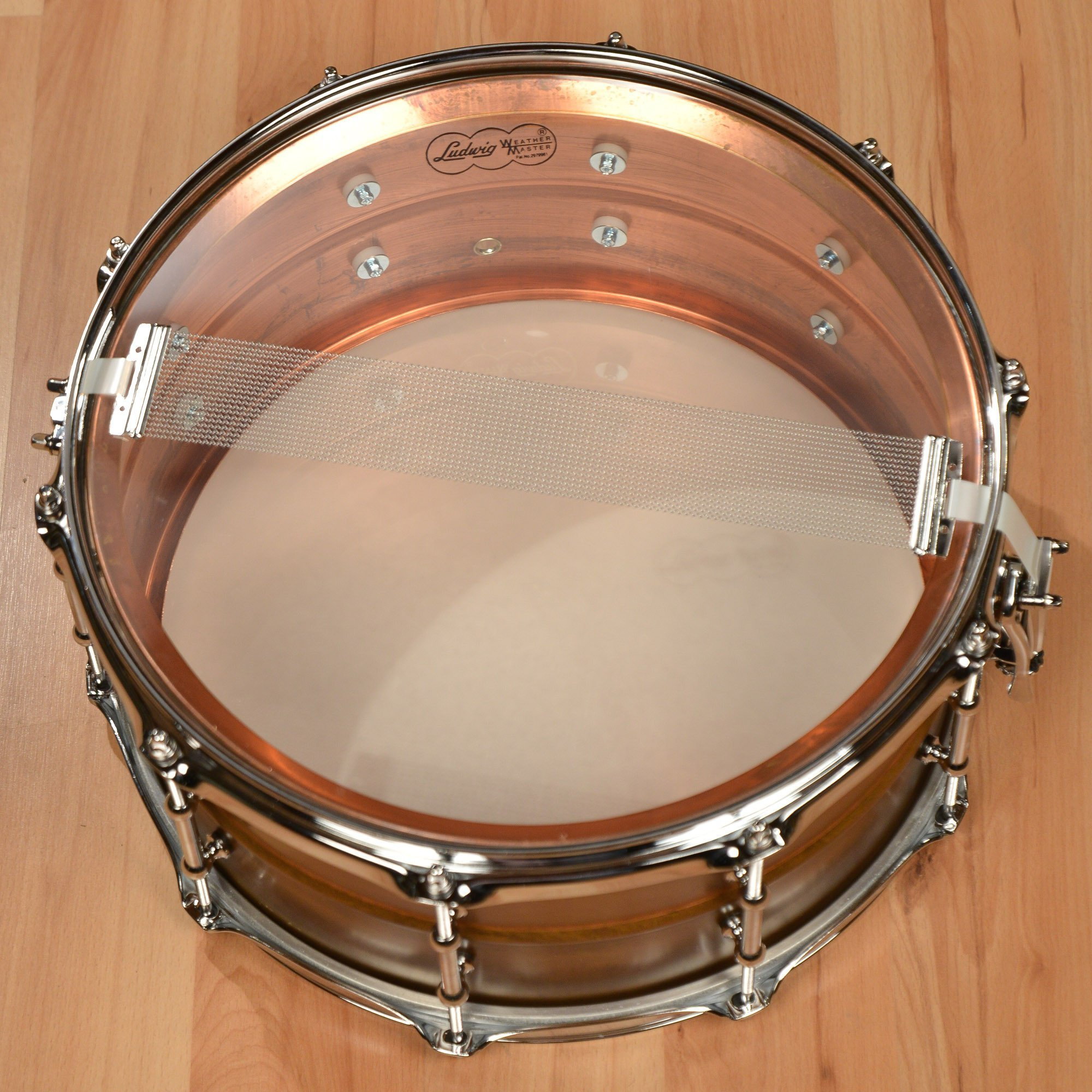 Ludwig Copper Phonic Smooth Snare Drum 14 x 6.5 in. Raw Smooth Finish with Tube Lugs by Ludwig (Image #6)