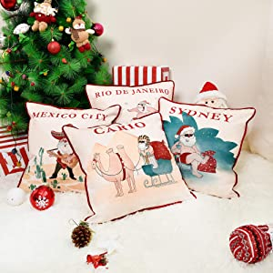 JS HOME Exclusive Designed Christmas Throw Pillow Covers, Set of 4 Different Patterns with Hand-Drawn, Design for Christmas Holiday Season Decoration (18