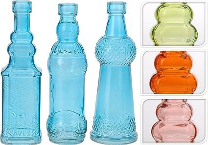 Juego de 3 Decorar Botella de cristal botella de licor, botellas Botiquín Jarrón Botella Frasco