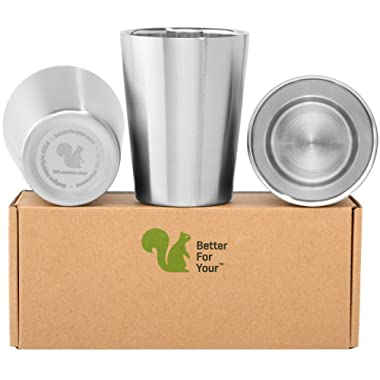 Better For Your - Small Tumbler Cups Stainless Steel Double Wall - 8oz (250ml) - Set of 3