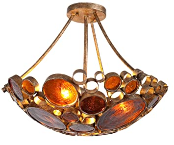 recycled lighting fixtures. Varaluz 165S03KO Fascination Collection 3-Light Semi-Flush Ceiling Fixture, Kolorado Finish With Recycled Lighting Fixtures