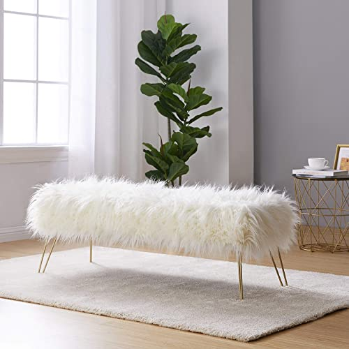 Ornavo Home Modern Contemporary Faux Fur Long Bench Ottoman Foot Rest Stool Seat with Gold Metal Legs – 15 L x 45 W x 15 H White