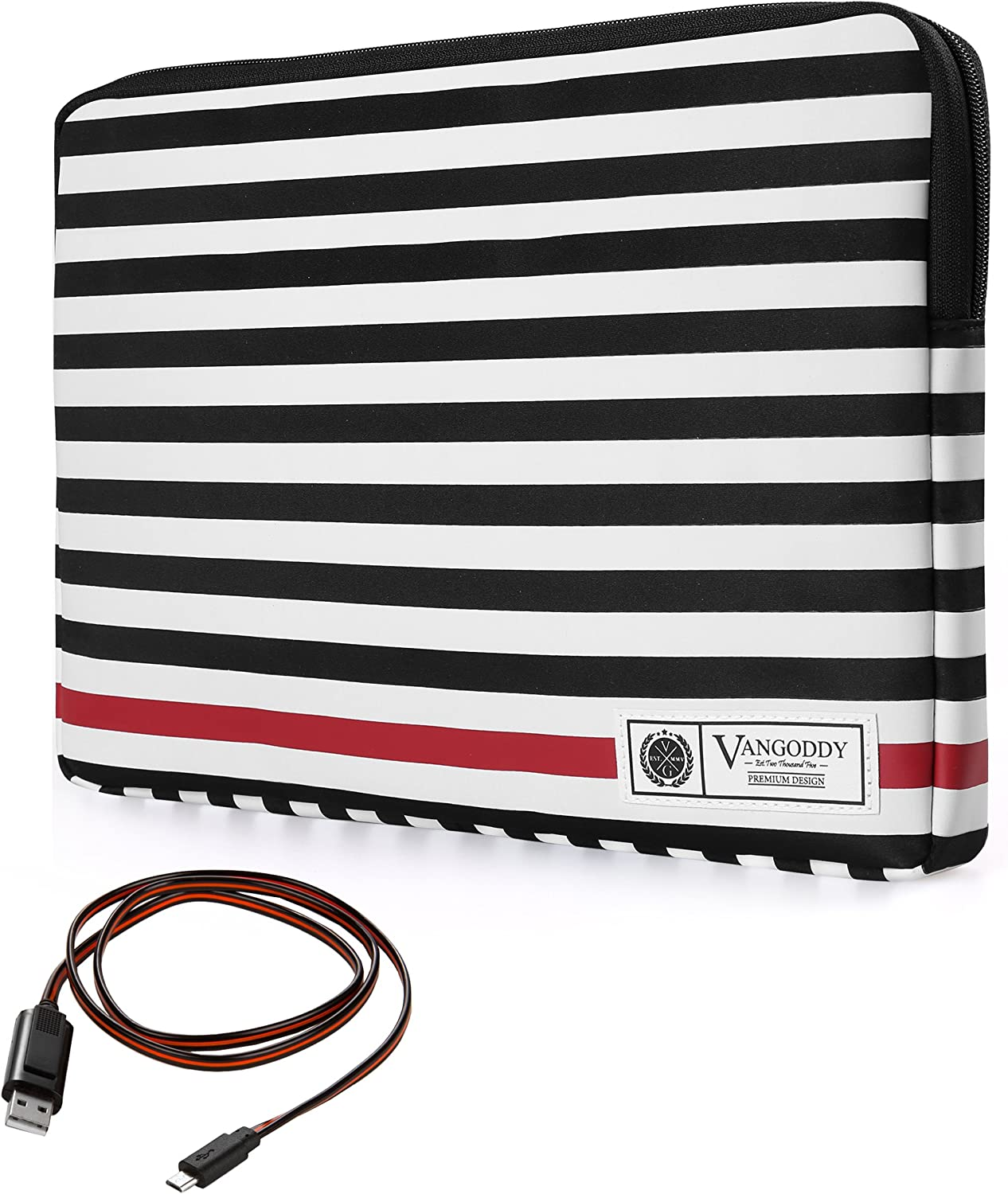 Vangoddy Luxe R Series Black White Stripe 17 Inch Compact Padded Carrying Sleeve Case for Lenovo G70, IdeaPad 300 700 Y700, ThinkPad P70 Series 17.3 inch Laptop with Sync and Charge Cable