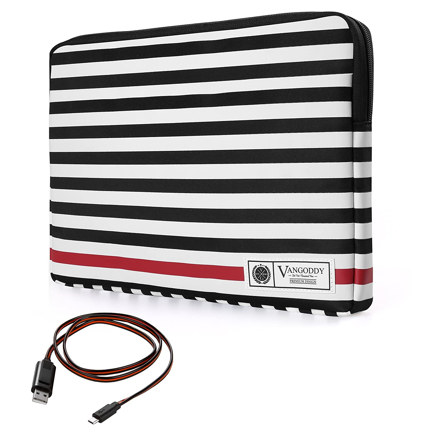 Luxe B Series Classic Black White Stripe Padded Sleeve for Dell Chromebook 13 Latitude 13 Vostro 14 Inspiron 13 14 15 Series 13.3 inch 14 inch Tablet Laptop with Wireless Mouse and Headphone