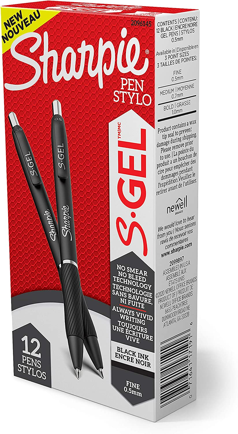 Sharpie S-Gel, Gel Pens, Fine Point (0.5mm), Black Ink Gel Pen, 12 Count: Office Products