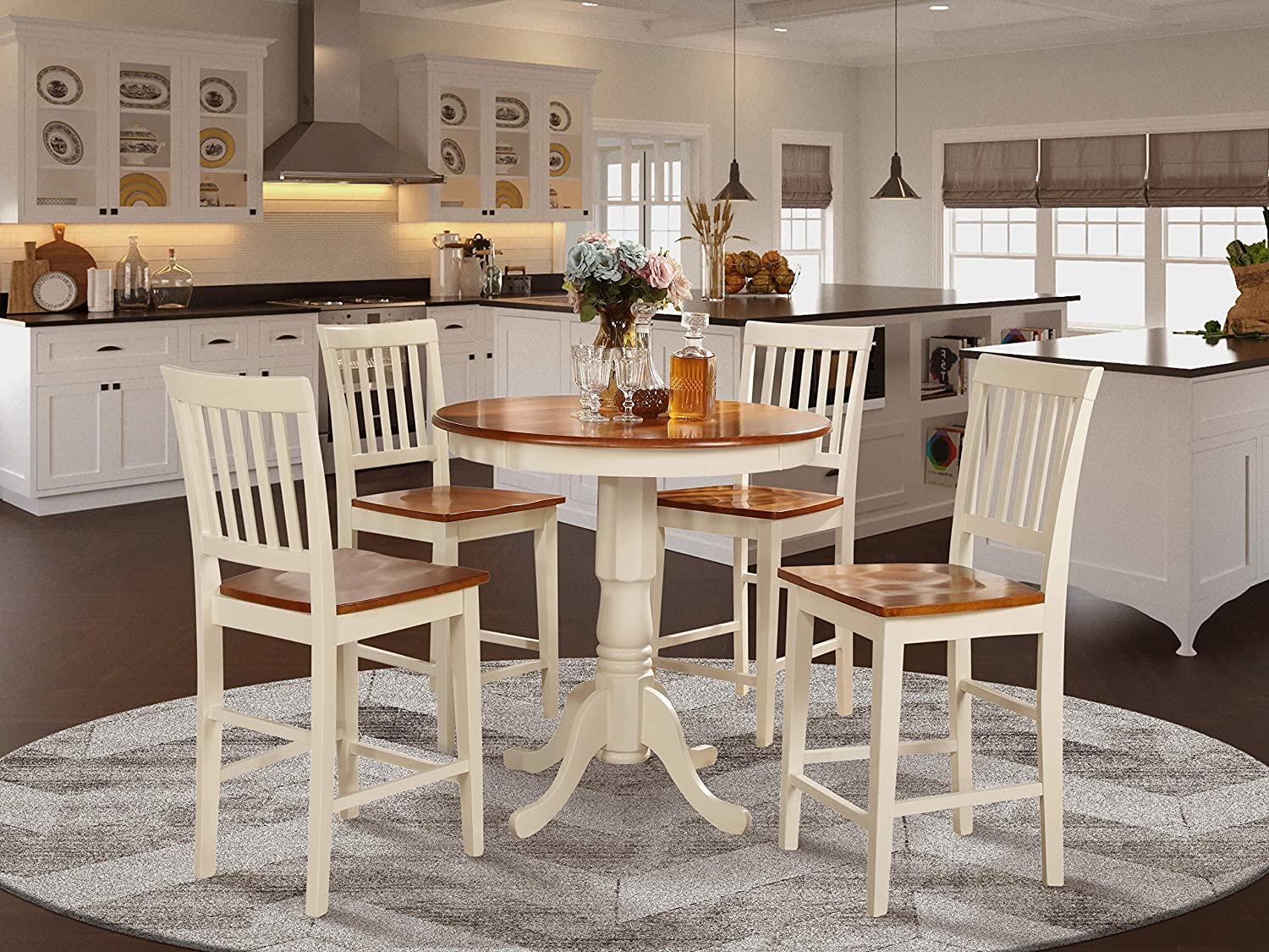 Amazon Com 5 Pc Counter Height Dining Set High Table And 4 Kitchen Chairs Furniture Decor